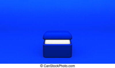 Big Diamond Ring On Blue Background 3D render Animation