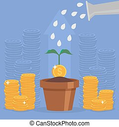 Business concept vector illustration in flat style. Money investment and growth. Dollar coins stack.