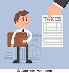 Cartoon vector illustration for financial management and taxes concept. Unhappy man with wallet got tax invoice.