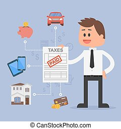 Cartoon vector illustration for financial management and taxes concept. Happy businessman paid all taxes.