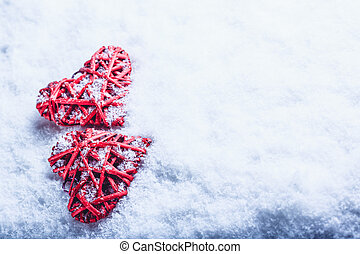 Two beautiful romantic vintage red hearts together on a...
