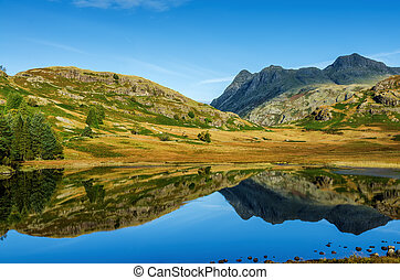 Blea Tarn, English Lake District - Landscape in Blea Tarn in...
