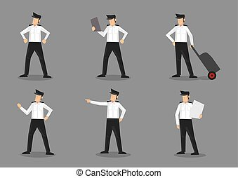 Airline Pilot in Uniform Characters Illustration - Set of...