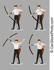 Archers with Bow and Arrows Character Illustration - Set of...