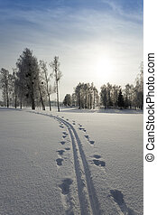 Snow covered road - the road covered with snow during the...