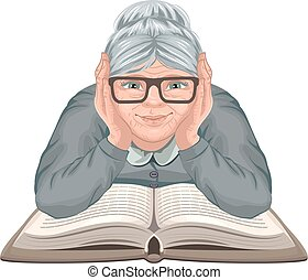 Grandmother reading book Old woman in glasses placed his...