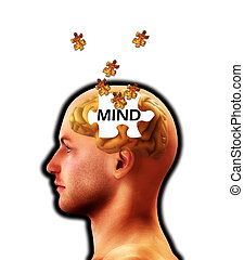 The Puzzle Of Mind Lost - A conceptual image representing...