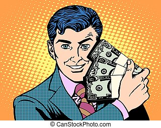 Rich with wads of dollars. business concept