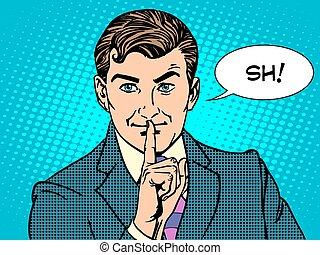 silencio, misterio, secreto, empresa / negocio, concepto,