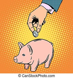 Piggy Bank contribution money pop art retro style Banking...