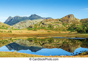 Blea Tarn, English Lake District - Langdale Pike reflection...