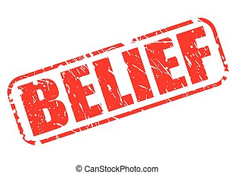 BELIEF red stamp text on white