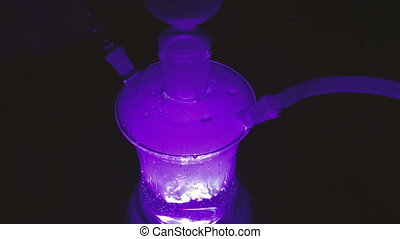 Glass hookah with illumination in the dark - Glass hookah...