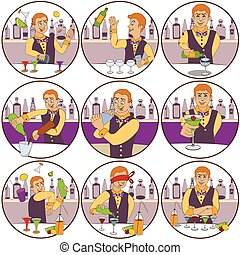 barman stickers - illustration of nine different skillful...