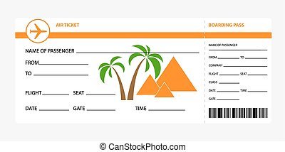boarding pass egypt - Airplane ticket blank space orange...