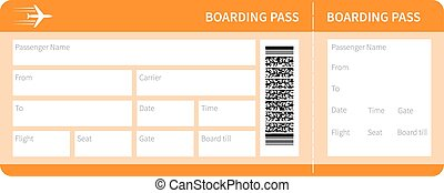 yellow boarding pass - Airplane ticket blank space. yellow...