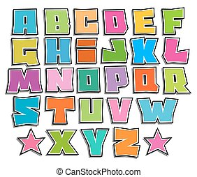 graffiti floating vector color fonts alphabet over white