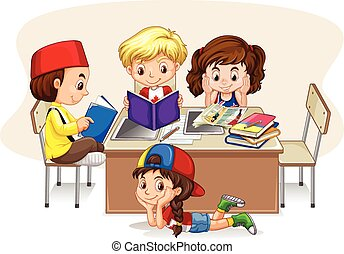 Children studying in the classroom illustration