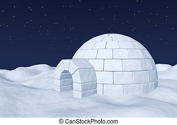 Igloo icehouse on polar snow field under night sky with stars