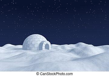 Igloo icehouse on snow polar field under night sky with stars