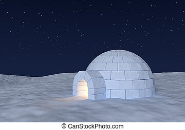 Igloo icehouse with warm light inside under night sky with stars