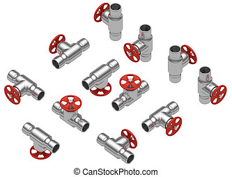 Steel valves set