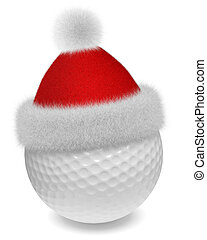 White golfball in Santa red hat - New Year and Christmas...