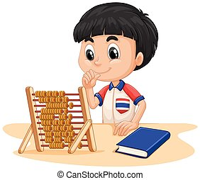 Boy calculating with abacus illustration