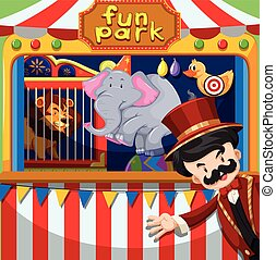 MC and animal show at the circus illustration