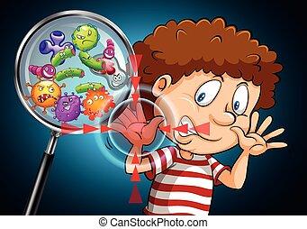 Bacteria on human hand illustration