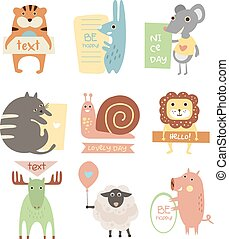 Cute Animals with Ribbons and Boards for Text. Vector Flat...