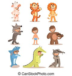 Little Boys Wearing Animal Costumes Vector Set - Little Boys...