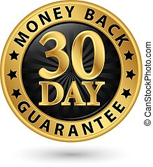 30 day money back guarantee golden sign, vector illustration