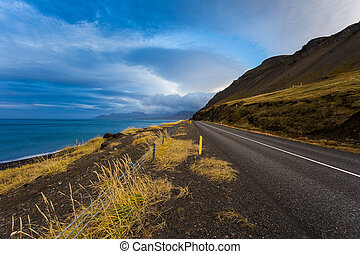 Road in west Iceland at sunset