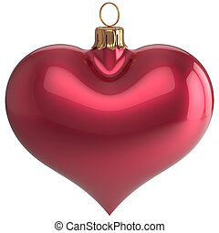 Heart shape Christmas ball New Year's Eve love bauble red