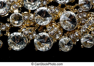 Diamonds and Gold Macro - Diamonds in different sizes,...