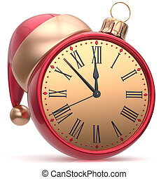 New Years Eve clock Santa hat Christmas ball decoration...