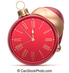 New Years Eve clock Santa hat Christmas ball decoration red...