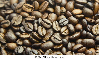 roasted coffee beans, can be used as a background rotate