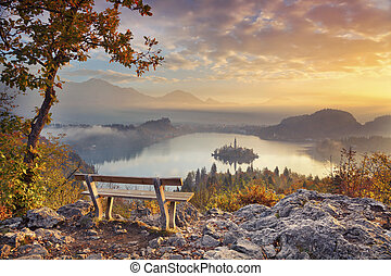 Autumn Lake Bled - Lake Bled with small Bled Island during...