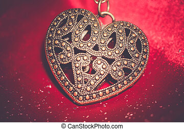 Heart Pendant on Silk Retro - Vintage big heart shaped...