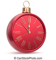 Happy New Year clock Christmas ball decoration time bauble -...