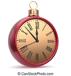 New Years Eve clock countdown Christmas ball midnight time -...