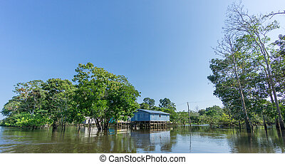 Woode houses built on high stilts over water, Amazon...
