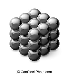 Cube from magnetic balls - Cube from magnetic black balls...
