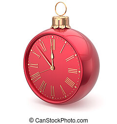 New Years Eve clock bauble Christmas ball decoration red -...