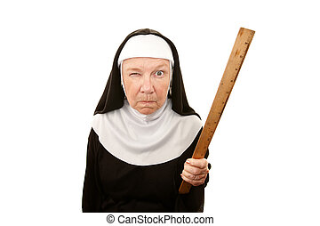 Funny Nun - Funny nun carrying wooden ruler as a weapon