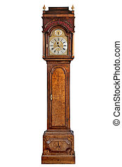 tall longcase grandfather clock walnut wood - English...