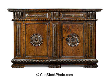 Old original Italian vintage wooden carved sideboard buffet...