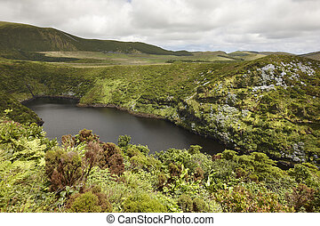 Azores landscape with lake in Flores island. Caldeira Comprida. Portugal